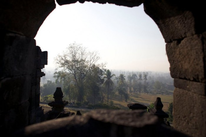A little look out from Borobudur temple, outside of Yogyakarta, Indonesia.