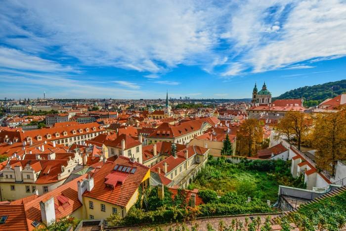 Prague View Skyline Church Czech Roofs